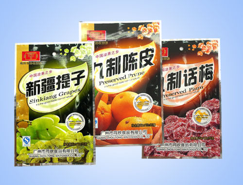 China Promotional Plastic Stand Up Snack Food Packaging  , Three Side Seal Bag supplier