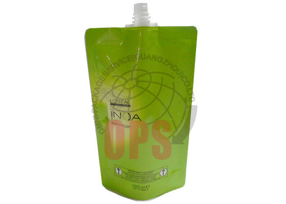China Straight Spout Stand Up Pouches Green Color , 1000ml Hair Cream Packaging Bag supplier