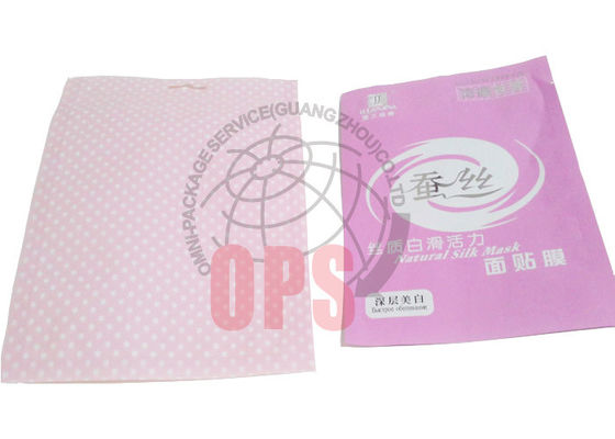 China Pink Recycled Flexible Cosmetic Packaging Bags With Zipper Three Side Seal supplier