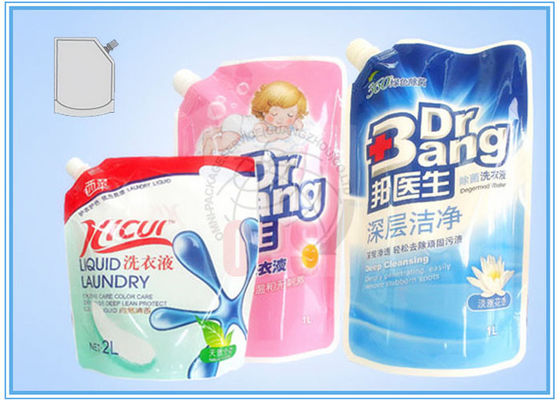 China Colorful Stand Up Pouch , custom side spout Detergent Plastic Bags supplier