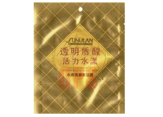China Gold color  Printing Cosmetic Packaging Bags For Facial Mask , face mask pouch supplier