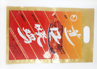 China Printed Foil Packaging / Laminated Foil Pouches 3 side seal bottom open with handle supplier