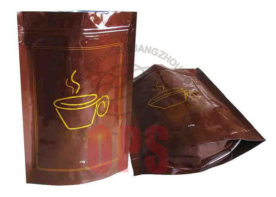 China Small Resealable Plastic Zipper Bags Packaging , Coffee Stand Up Pouch supplier