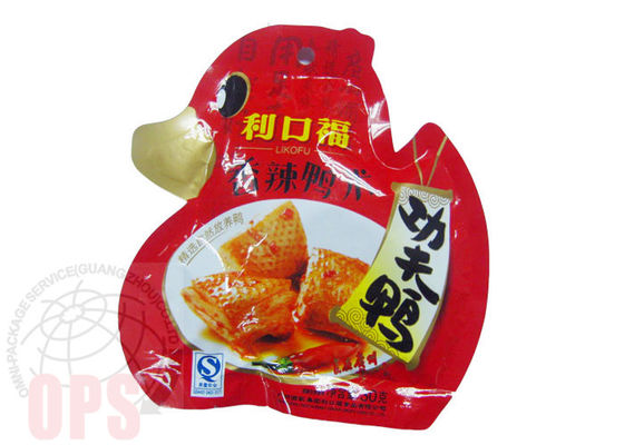 Die Cut Irregular Shaped Plastic Snack Food Grade Packaging Bags With Spout