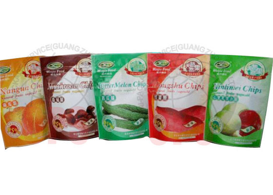 China Zipper Resealable Stand Up Pouches For Fruit Chips And Cooked Food factory